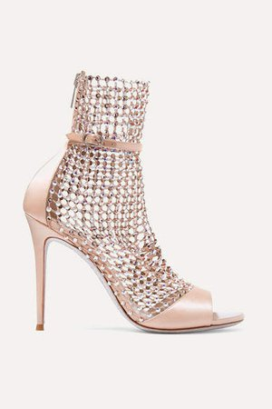 Galaxia Crystal-embellished Mesh And Satin Sandals - Blush