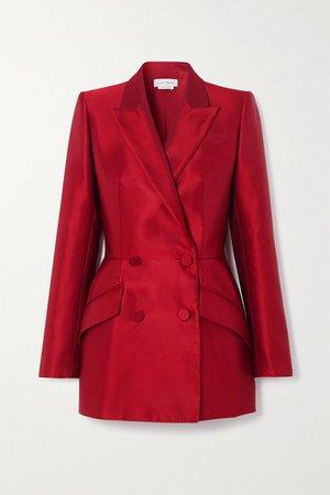 Red Double-breasted silk-satin blazer   Alexander McQueen   NET-A-PORTER