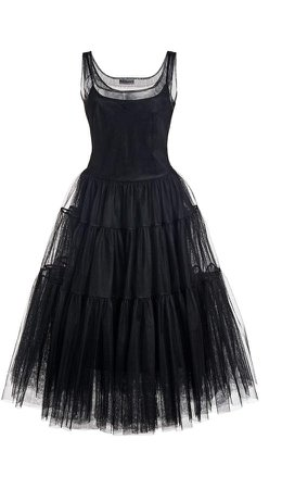 Molly Goddard Corrie Tiered Tulle Midi Dress