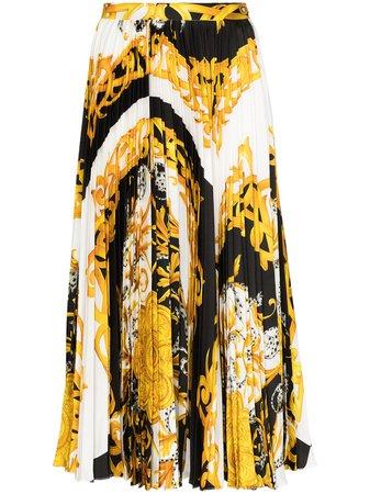 Versace Baroque-print Pleated Midi Skirt - Farfetch