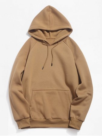 2018 Basic Solid Pouch Pocket Fleece Hoodie In CAMEL BROWN L | ZAFUL