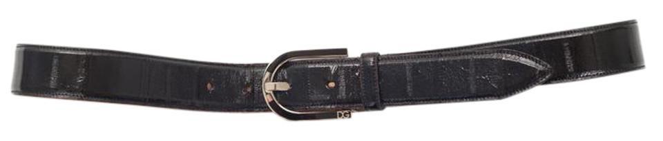 Dolce&Gabbana Classic Black Eel Skin+silver Buckle Beltclassic Black Eel Skin+silver Belt - Tradesy