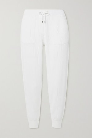 Bead-embellished Ribbed Cotton Track Pants - White