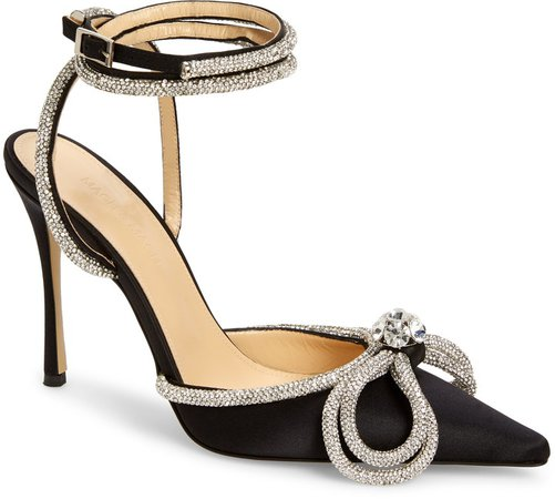 Mach & Mach Double Crystal Bow Satin Pump