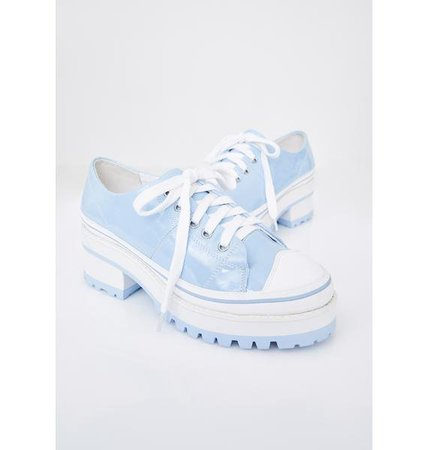 Sugar Thrillz Patent Heeled Sneakers Blue | Dolls Kill