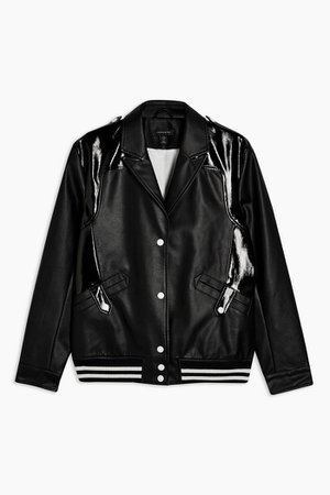 IDOL Black Faux Leather and Vinyl Bomber Jacket | Topshop