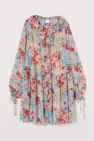 Short Flounced Dress - Beige