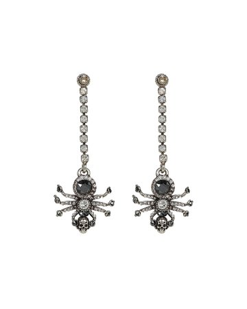 Spider Crystal Chain Earrings