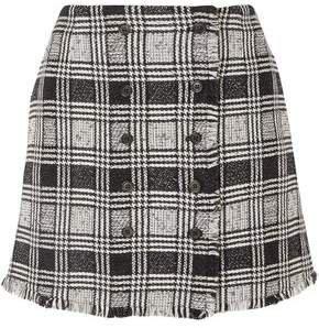 Frayed Checked Tweed Mini Skirt