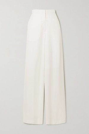 Angelina Woven Wide-leg Pants - White