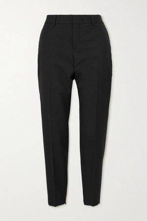 Wool Slim-leg Pants - Black
