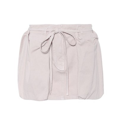 Leather-trimmed cotton cargo skirt