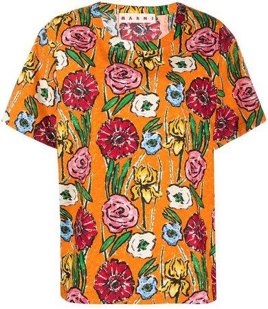 floral-print cotton T-shirt