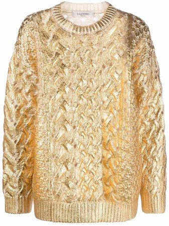 Valentino Metallized cable-knit Jumper - Farfetch