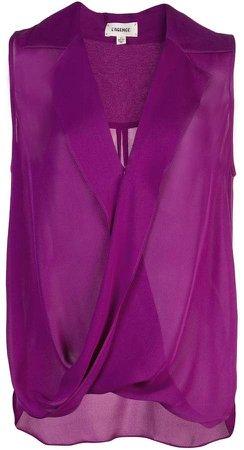 draped sleeveless blouse