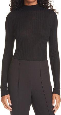 Turtleneck Ribbed Wool Sweater