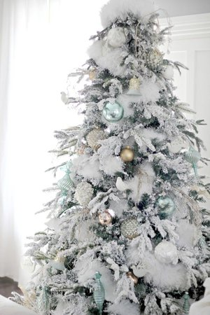 white snowy christmas tree