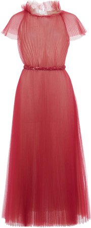Luisa Beccaria Pleated Chiffon Dress