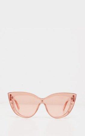 Peach Transparent Oversize Cat Eye Sunglasses | PrettyLittleThing
