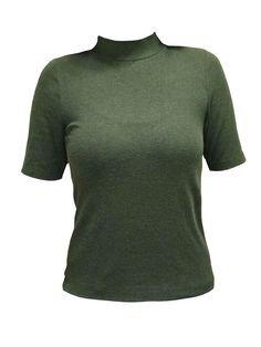 Green Short Sleeve Turtleneck