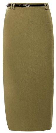 Khaki Tailored Pencil Skirt