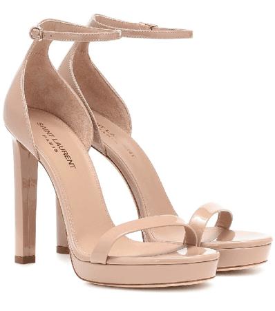 Saint Laurent Hall Patent-leather Platform Sandals In Neutral | ModeSens
