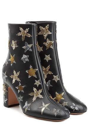 Leather Ankle Boots with Embroidery Gr. IT 39.5
