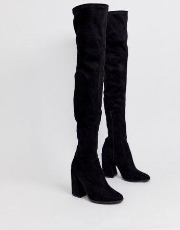 ASOS DESIGN Petite Korey heeled thigh high boots in black | ASOS