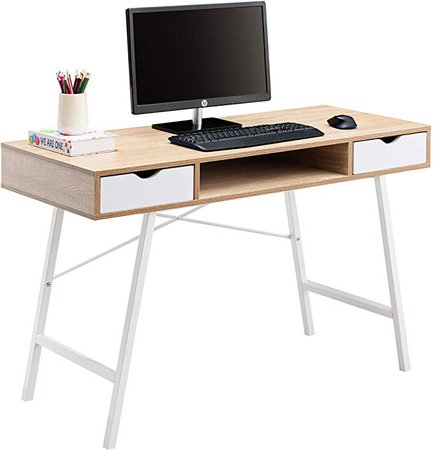 Amazon.com: JJS Home Office Writing Desk with Drawers, Modern Computer Study Wooden Desk Table Laptop PC Workstation with Storage, Mid Century White Oak: Kitchen & Dining