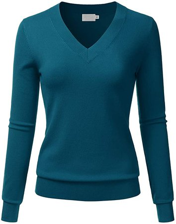 LALABEE Women's V-Neck Long Sleeve Soft Basic Pullover Knit Sweater Teal M at Amazon Women's Clothing store