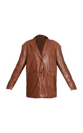 Toffee Faux Leather Oversized Dad Blazer   PrettyLittleThing USA