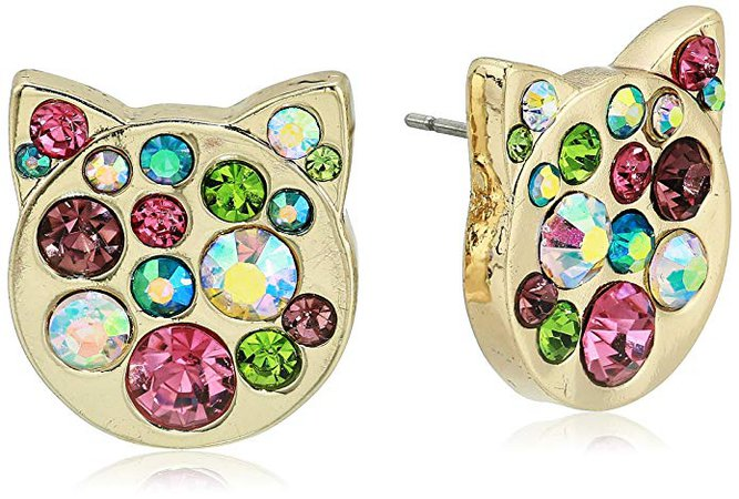 Betsey Johnson Multi-Stone Pave Cat Stud Earrings, One Size: Clothing