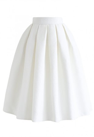 Jacquard Pleated A-Line Midi Skirt in White - Skirt - BOTTOMS - Retro, Indie and Unique Fashion