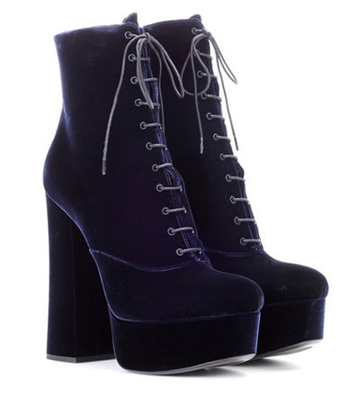 Velvet plateau ankle boots