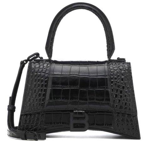 black balmain croc skin bag