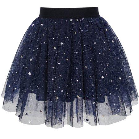 Girls Skirt Navy Blue Pearl Stars Sparkling Tutu Dancing – Sunny Fashion