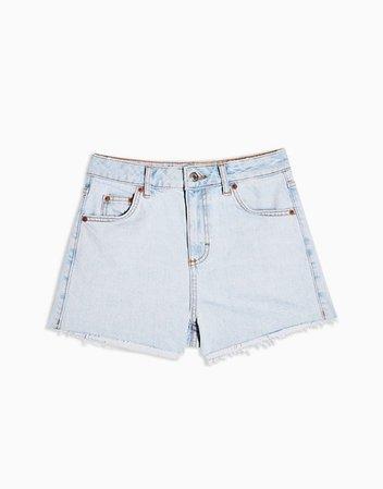 Topshop premium denim mom shorts in bleach wash   ASOS