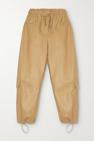 Tan Yoyo faux leather tapered pants | Frankie Shop | NET-A-PORTER