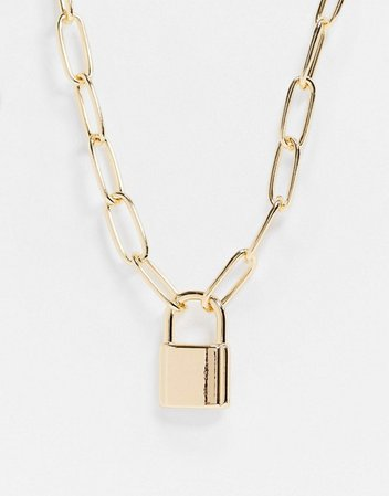 ASOS DESIGN necklace with hardware chain and padlock in gold tone   ASOS