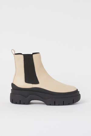 Leather Ankle Boots - Beige