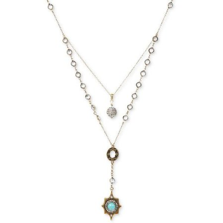 Bronze Beaded Turquoise Stone Layer Necklace