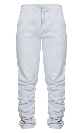 Grey Ruched Leg Jogger | Trousers | PrettyLittleThing USA