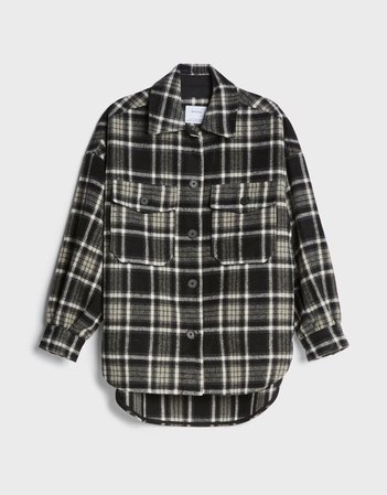Oversized check overshirt - Shirts and blouses - Woman | Bershka