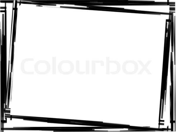 Black grunge border frame on white background | Stock Photo | Colourbox