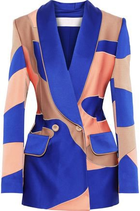 Double-breasted patchwork-effect satin-crepe blazer   PETER PILOTTO   Sale up to 70% off   THE OUTNET