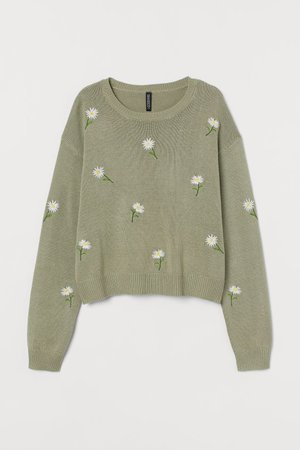 Knitted jumper with embroidery - Light khaki green/Flowers - Ladies | H&M GB
