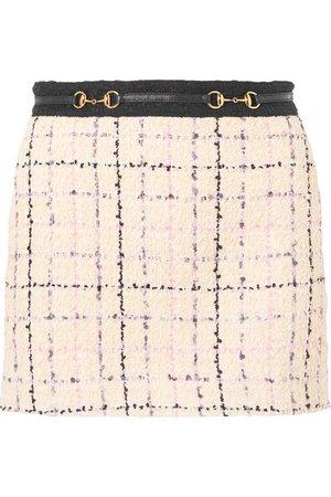 Gucci Embellished cotton-blend bouclé-tweed mini skirt