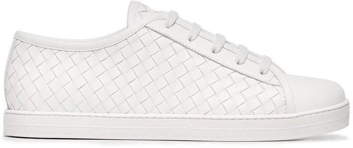 leather woven sneakers