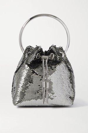 Silver Bon Bon sequined satin tote | Jimmy Choo | NET-A-PORTER
