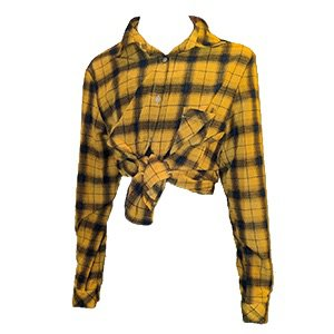 yellow plaid button up